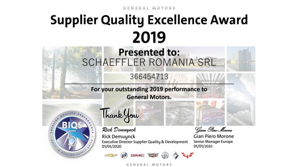 "Schaeffler România a primit distincția ""Supplier Quality Excellence Award"" din partea General Motors"