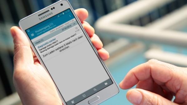 """Operatorii echipamentelor sunt notificați pe e-mail prin serviciul digital """"ConditionAnalyzer"""" și pot accesa cu ușurință aceste notificări, de pe dispozitivele mobil."""